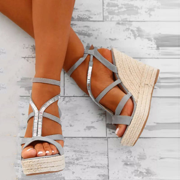 Strappy Wedge Heel Open Toe Buckle Rhinestone Casual Sandals