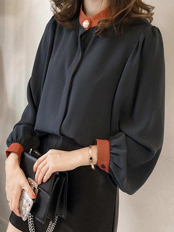 Stand Collar Color Block Lantern Sleeve Standard Long Sleeve Blouse