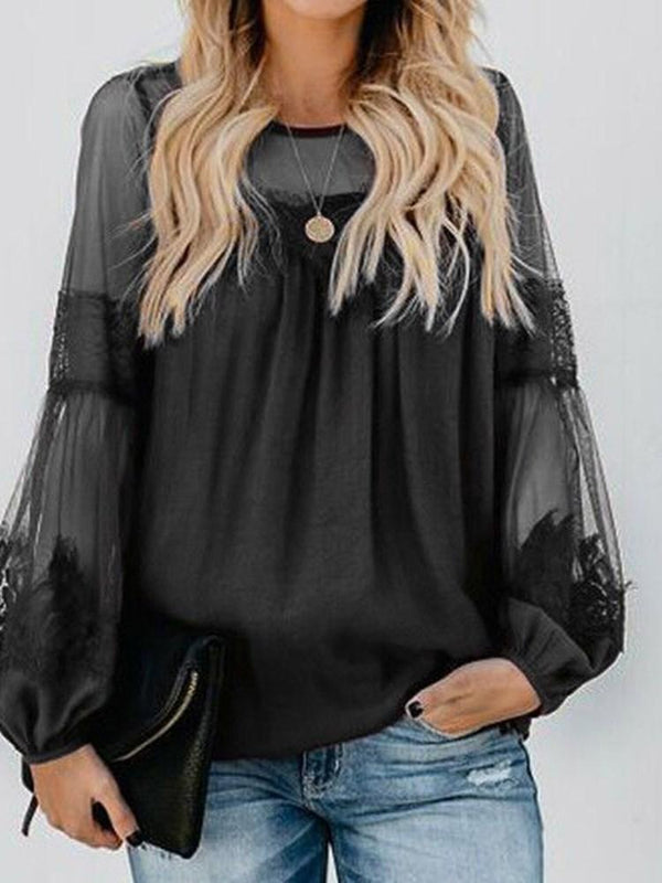 Long Sleeve Standard Round Neck Sexy Loose T-Shirt