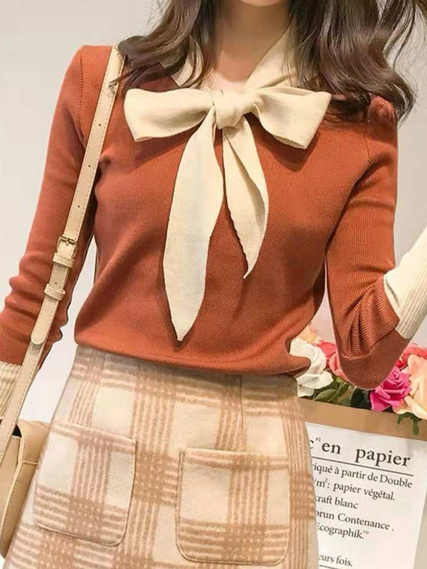 Regular Bowknot Regular Standard Long Sleeve Sweater