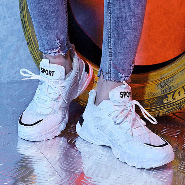 Round Toe Lace-Up Mesh Patchwork Sneakers