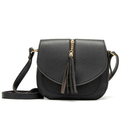 Plain Korean PU Tassel Crossbody Bags
