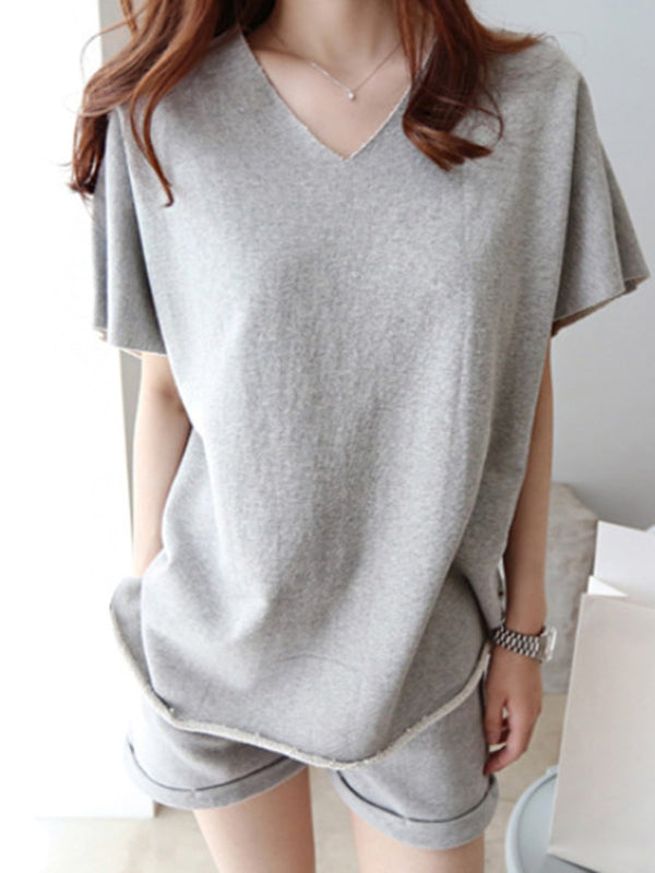 Patchwork Plain T-Shirt V-Neck Pullover Two Piece Sets