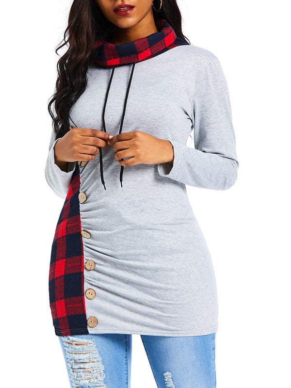 Button Plaid Mid-Length Long Sleeve Hoodie