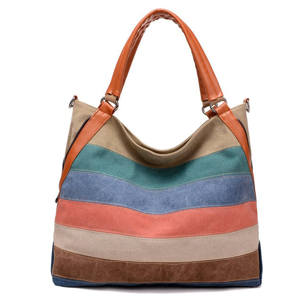 European Patchwork Stripe Canvas Tote Bags