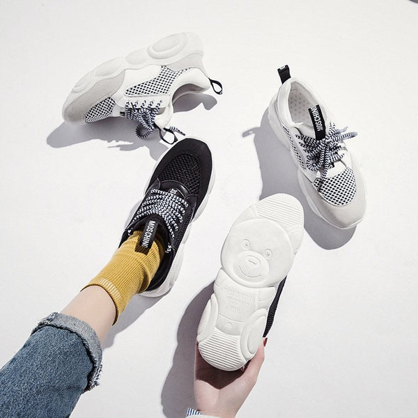Lace-Up Hollow Mid-Cut Upper Round Toe Patchwork Casual Sneakers