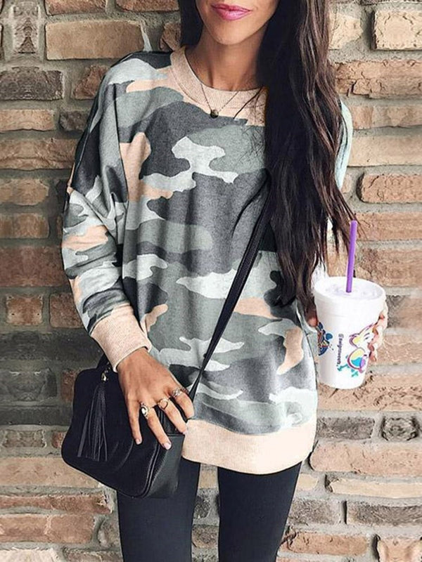 Camouflage Print Round Neck Mid-Length Hoodie