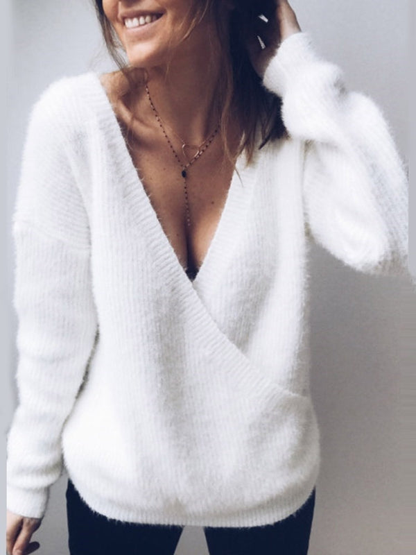Asymmetric Regular V-Neck Standard Sweater
