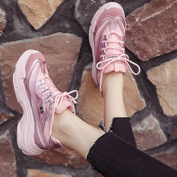 Round Toe Platform Lace-Up Low-Cut Upper Plain Casual Sneakers