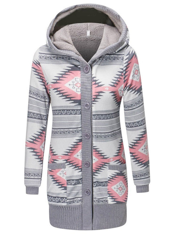 Geometric Button Single-Breasted Winter Hooded Hoodie