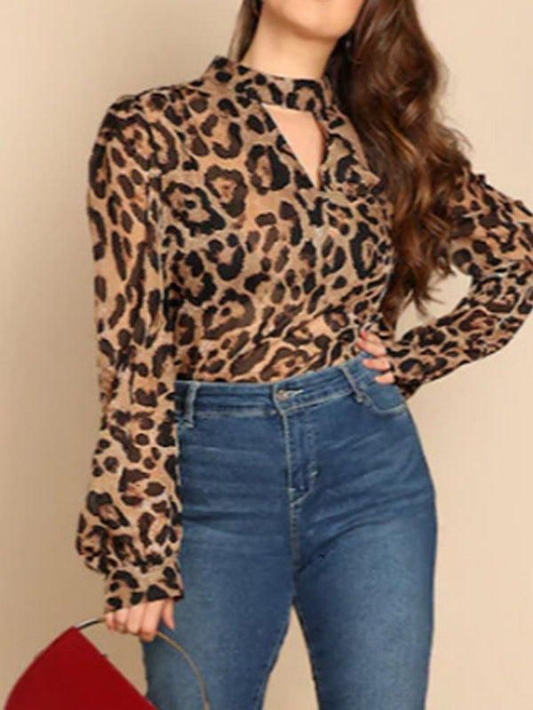 Stand Collar Print Lantern Sleeve Long Sleeve Standard Blouse