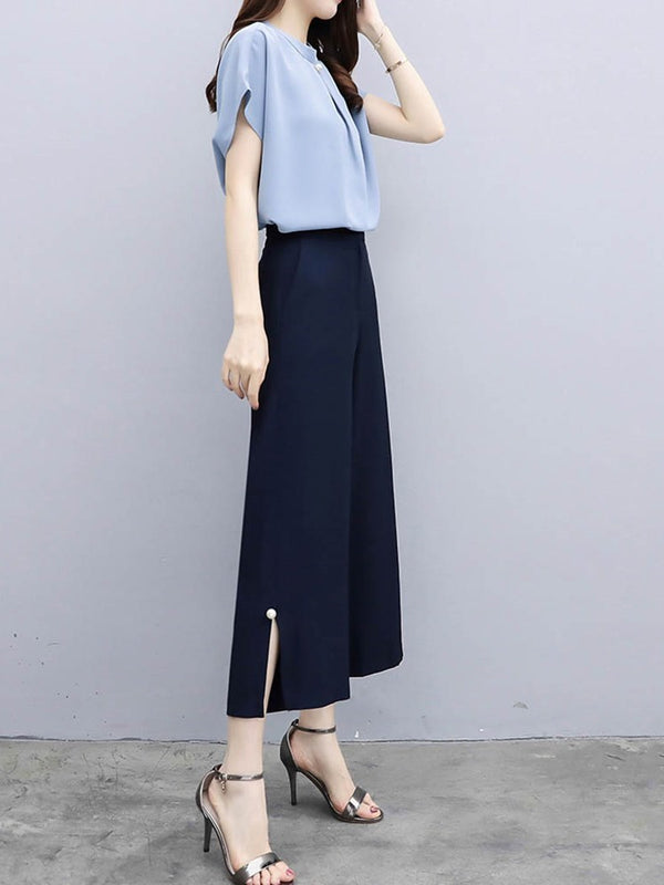 Fashion Bead Ankle Length Pants Straight Two Piece Sets