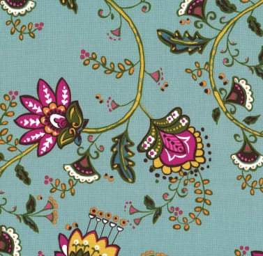 Dilly Dahlia Collection by Michael Miller - Moon Flower Vine Turquiose  - Yardage Y2103KFT - Daz Fabrics