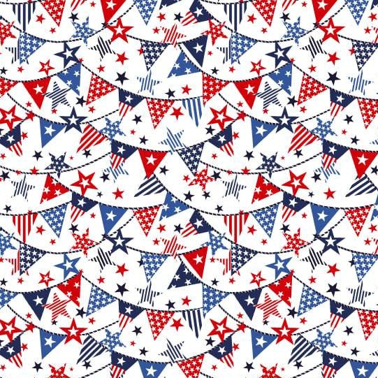 Truckin' In The USA - Mini Banners White - Y1003 - Daz Fabrics