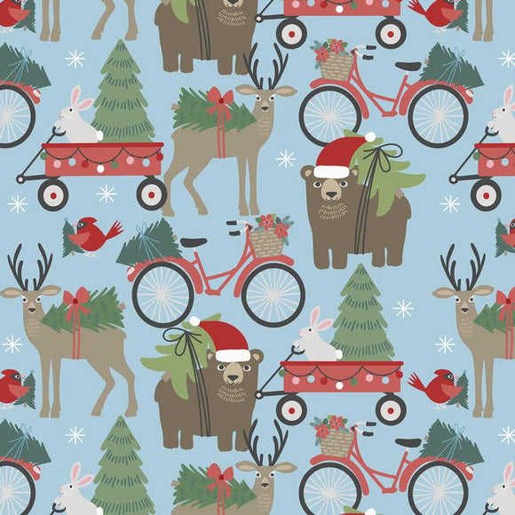 Baubles & Boughs Collection by Maude Asbury - Hustle & Bustle Lt Blue - Yardage CS 15 - Daz Fabrics