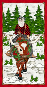"Giddy Up Santa! by Tana Mueller - Santa Panel White - 24"" - Daz Fabrics"