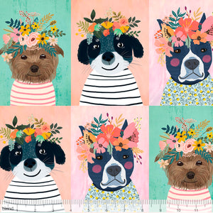 "Floral Pets Collection by Mia Charro - Floral Puppy Multi - Panel 12"" x 44"" - P295 - Daz Fabrics"