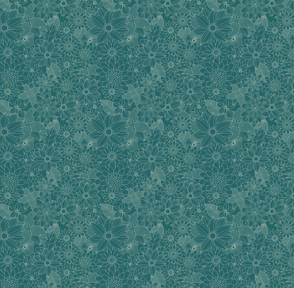 Floral Pets Collection by Mia Charro - Sigrid Turquoise-  Y2343 - Daz Fabrics