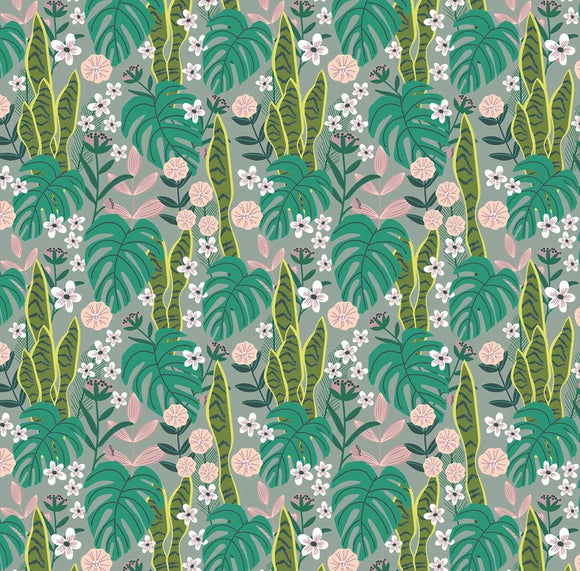 Junglemania Collection by Mia Charro - Sansevieria Turquoise - Yardage - Daz Fabrics