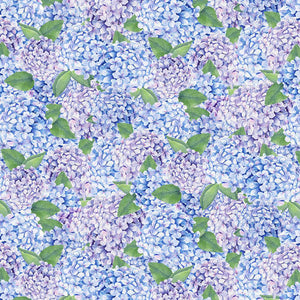Coastal Paradise Collection by Barb Tourtillotte - Hydrangas  Blue - Yardage - Daz Fabrics