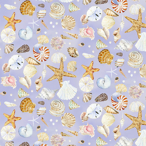 Coastal Paradise Collection by Barb Tourtillotte - Shells Lavender - Yardage - Daz Fabrics