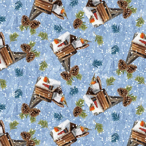 Winter Cottage Collection by Marcello Corti  - Mailbox And Birds - Yardage - Daz Fabrics