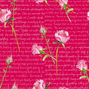 Love Letters Collection by Barb Tourtillotte - Words & Roses Red - Yardage - Daz Fabrics