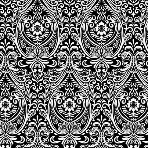 Black, White & Red Hot by Color Principle - Arabesque Black - Y319 - Daz Fabrics