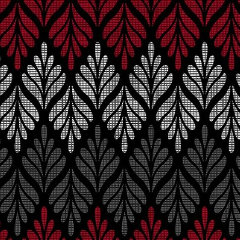 Black, White & Red Hot by Color Principle - Chevron Fern Black-Multi - Y322 - Daz Fabrics