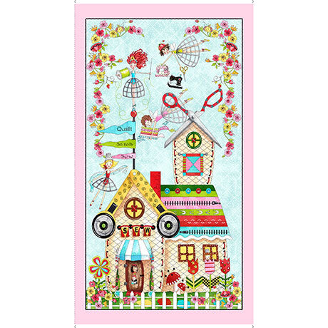 The Quilted Cottage by QT Fabrics - Sewing Fairies Panel - Daz Fabrics