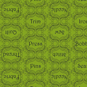 The Quilted Cottage by QT Fabrics - Sewing Words Lime - Yardage - Daz Fabrics