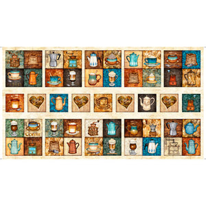 Cafe All Day by Dan Morris - Coffee Patches Stone - Panel - Daz Fabrics