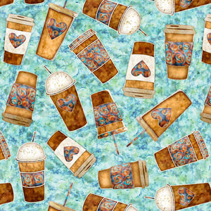 Cafe All Day by Dan Morris - Coffee To Go Toss - Aqua - Yardage - Daz Fabrics