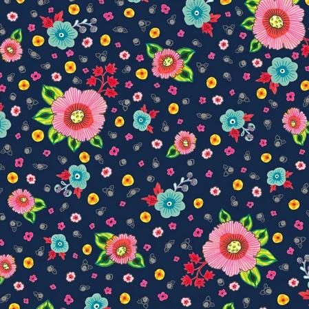 Evelyn by QT Fabrics - Spaced Floral Navy - Yardage - Daz Fabrics