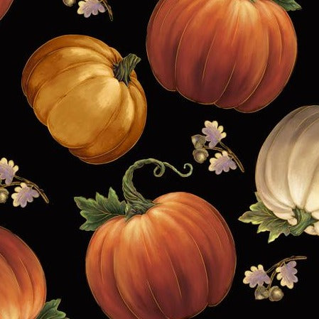 Harvest Elegance by Gina Jane Lee - Tossed Pumpkins Black - Y908 - Daz Fabrics
