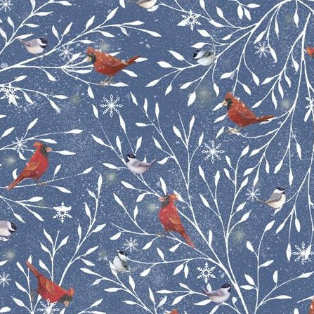 Woodland Buddies by Sarah Summers - Cardinals Denim - Y708 - Daz Fabrics