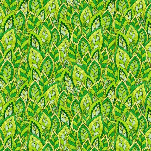 Rainbow Flight by Hello Angel - Decorative Leaves Green - Yardage - Daz Fabrics