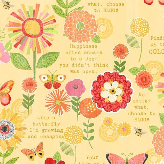 Sing Your Song Collection by Anne Rowan - Flowers & Sentiments Yellow - Yardage - Daz Fabrics