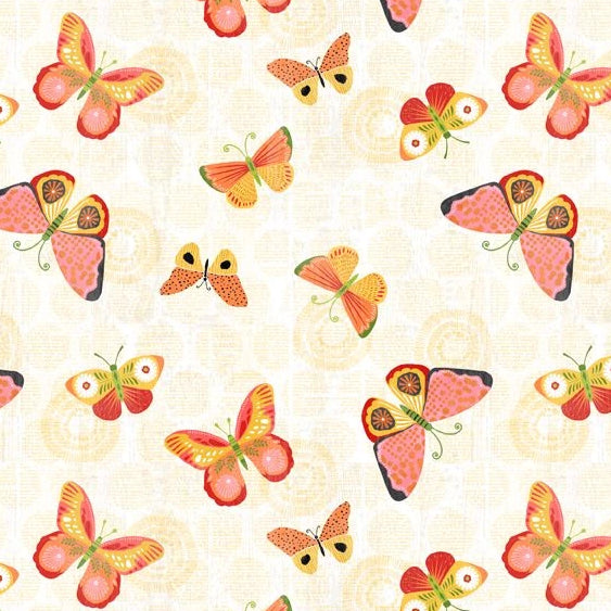 Sing Your Song Collection by Anne Rowan - Butterflies Lt Yellow - Yardage - Daz Fabrics