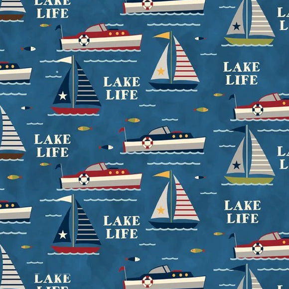 Lake Life by Anne Rowan - Lake Fun Blue - Yardage - Daz Fabrics