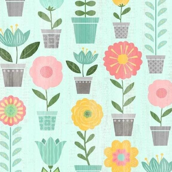 Keep Shining Bright by Anne Rowan - Potted Plants Aqua - Y2217 - Daz Fabrics