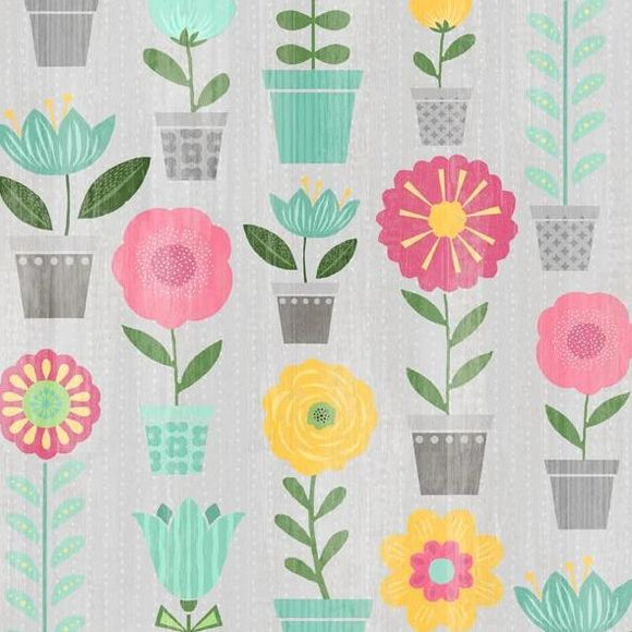 Keep Shining Bright by Anne Rowan - Potted Plants Light Gray - Y2218 - Daz Fabrics