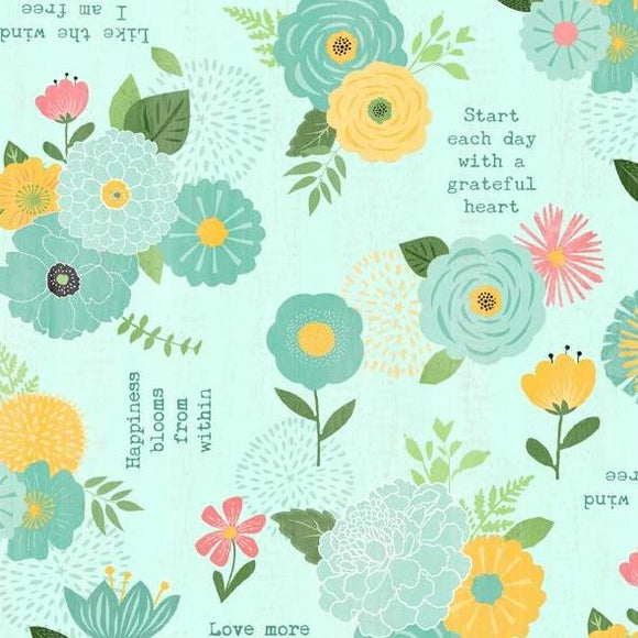 Keep Shining Bright by Anne Rowan - Florals & Sentiments Aqua - Y2211 - Daz Fabrics