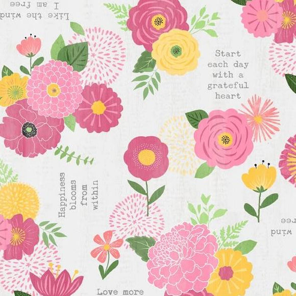Keep Shining Bright by Anne Rowan - Florals & Sentiments Light Gray - Y2212 - Daz Fabrics