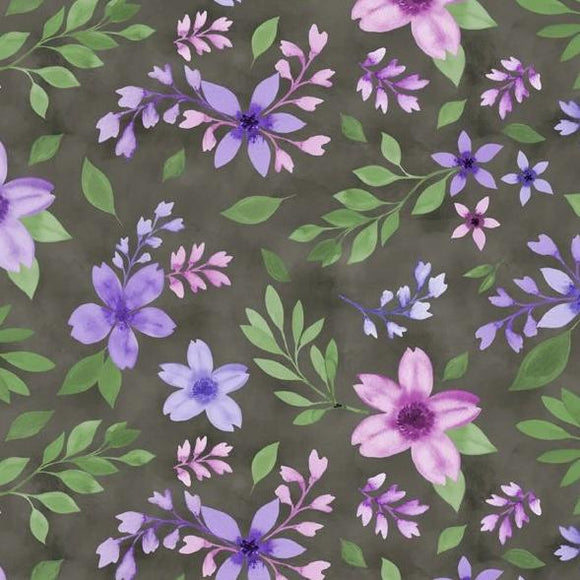 Amethyst Magic Collection by Danielle Leone - Medium Floral Black - Yardage - Daz Fabrics