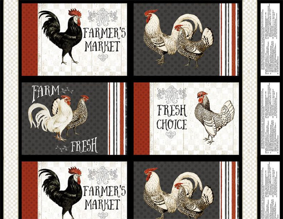 Free Range Fresh Collection by Katie Pertiet - Craft Panel Multi - Daz Fabrics