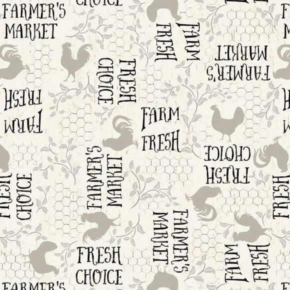 Free Range Fresh Collection by Katie Pertiet - Words A/O Cream - Yardage - Daz Fabrics