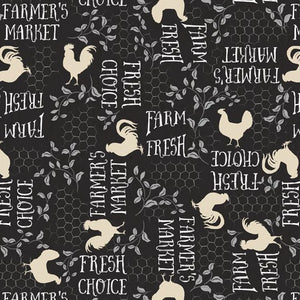 Free Range Fresh Collection by Katie Pertiet - Words A/O Black - Y2166 - Daz Fabrics