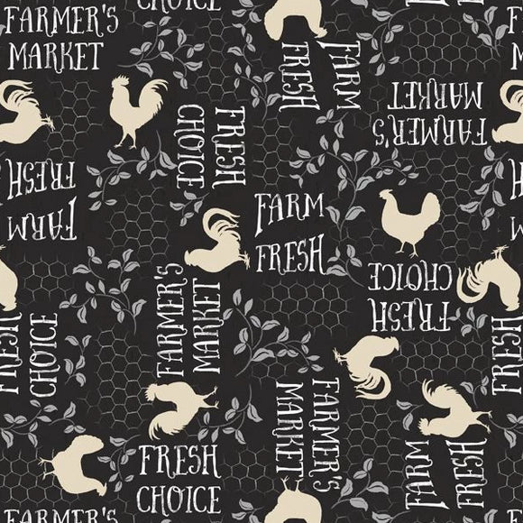 Free Range Fresh Collection by Katie Pertiet - Words A/O Black - Yardage - Daz Fabrics