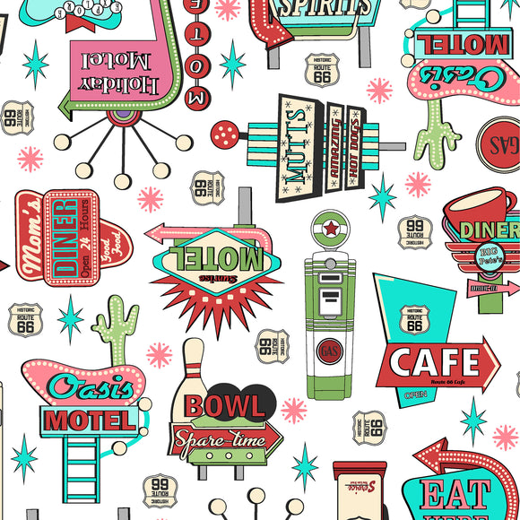 Retro Road Trip Collection - White Signs - Yardage - Daz Fabrics